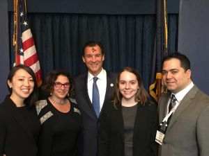 Representative Tom Suozzi with Marisa Wong, Diane Masciale, Jillian Leavey and Orlando Morales.