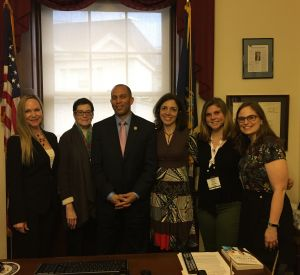 Representative Hakeem Jeffries with Kellie Specter, Dorothy Pacella, Melody Marcus, Alexi Cohan, and Kala DeStefano