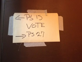 A handwritten sign in Red Hook, Brooklyn attempts to guide voters from PS 15 poll site to PS 27 poll site.