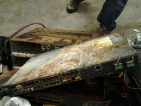 Network equipment for Internet access, damaged in basement flooding in Lower Manhattan.