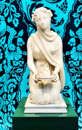 Marble sculpture of Veiled Vestal Virgin, part of the Devonshire Collection at Chatsworth House