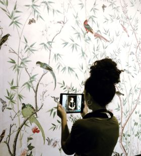 Digital portrait wall for Chatsworth House exhibition at Sotheby's New York