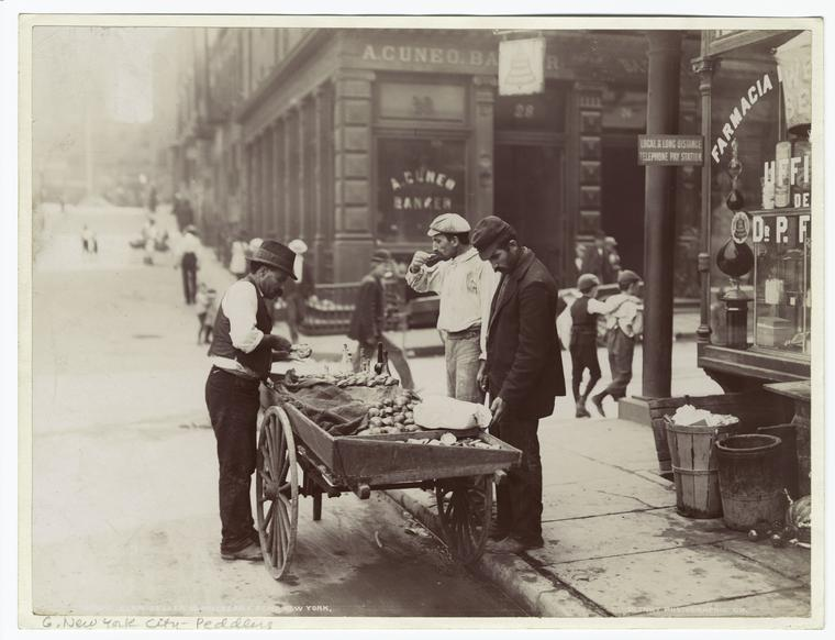 Clam Sellers near Mulberry Bend Park, circa 1900