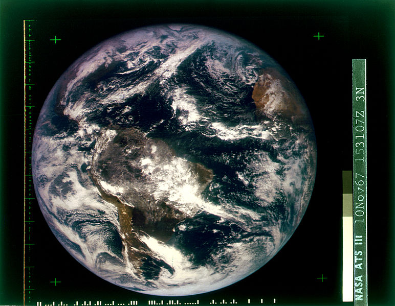 Shot from a weather satellite, this shows the first fully lit, full disk view of Earth from space