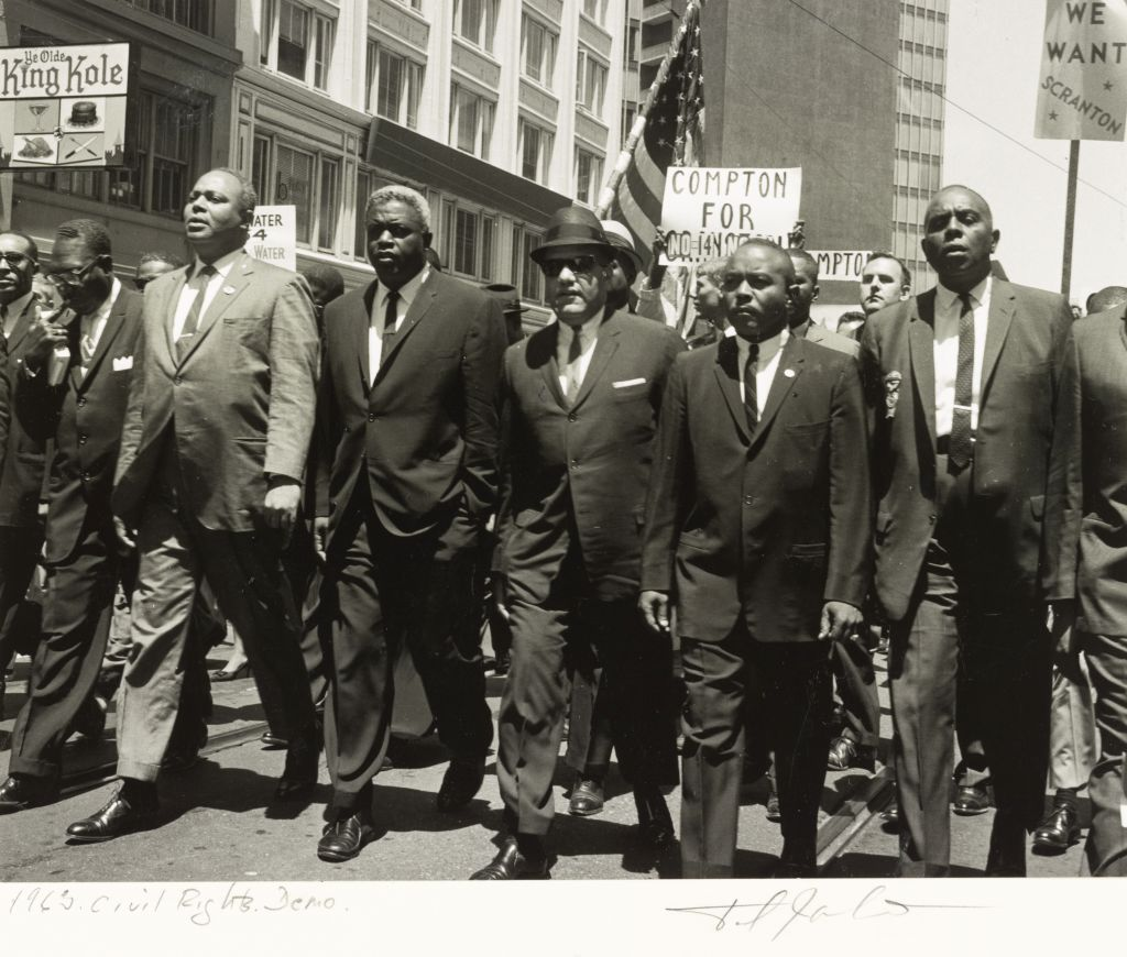 Jackie Robinson (fourth from left) and others are among 35,000 demonstrators for Civil Rights on the eve of the 1964 Republican National Convention in San Francisco.