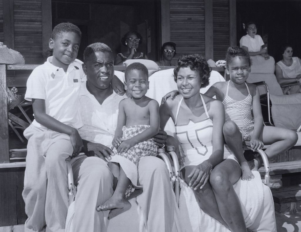 Jackie and Rachel Robinson with their children, Jackie Jr., David and Sharon by the pool at Grossinger's Resort in Liberty, New York. Photo courtesy of Rachel Robinson.