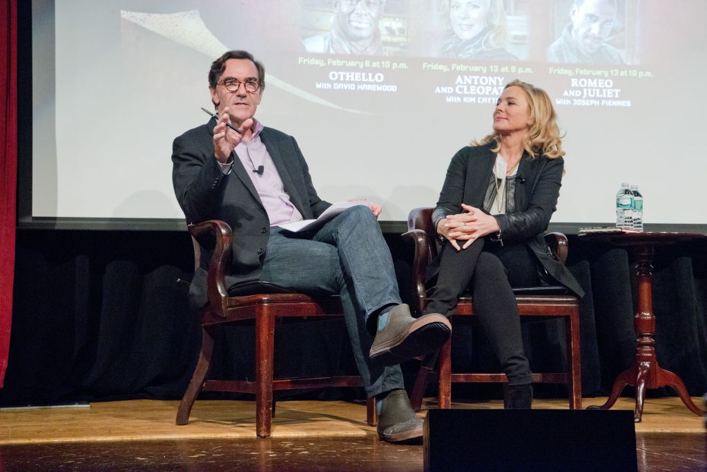 """Stephen Segaller, Vice President of Programming at WNET (left), in discussion with Kim Cattrall about """"Antony and Cleopatra with Kim Cattrall,"""" which premiered February 13, 2015, as part of Shakespeare Uncovered, Season Two."""