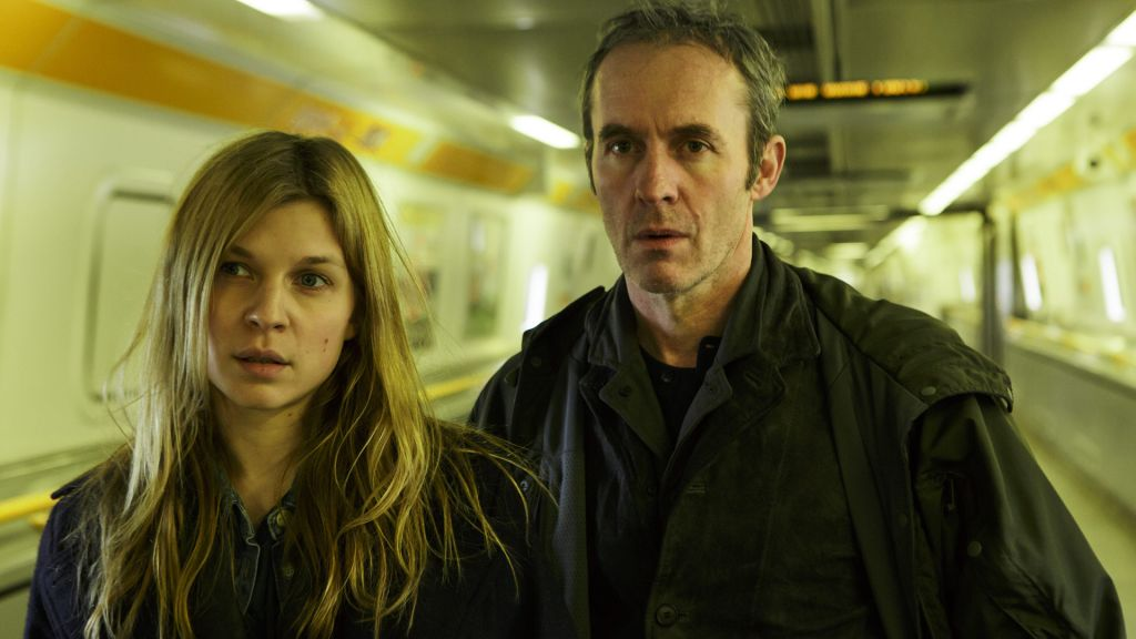"""The French detective Elise Wassermann (Clémence Poésy) and British detective Karl Roebuck (Stephen Dillane) join forces to stop a serial killer claiming to be a Truth Terrorist in """"The Tunnel"""" on PBS."""