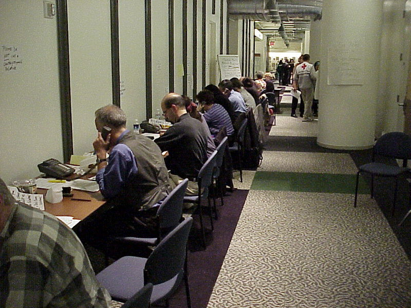 Volunteers responding to 9/11 at work in the hallways of WNET/Thirteen at former offices at 450 West 33rd Street.