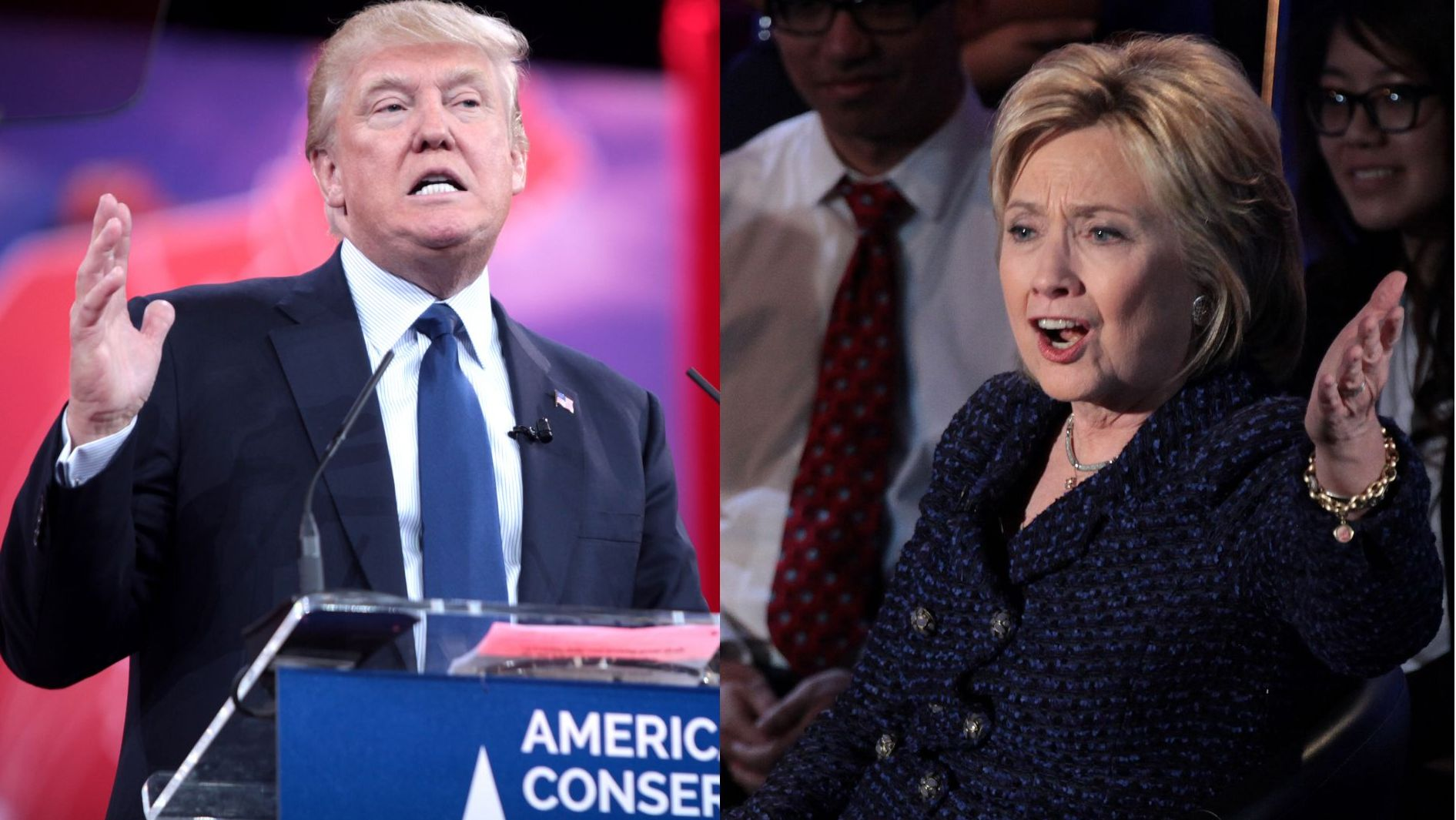 Donald Trump (left) and Hillary Clinton (right) during the 2016 election campaign