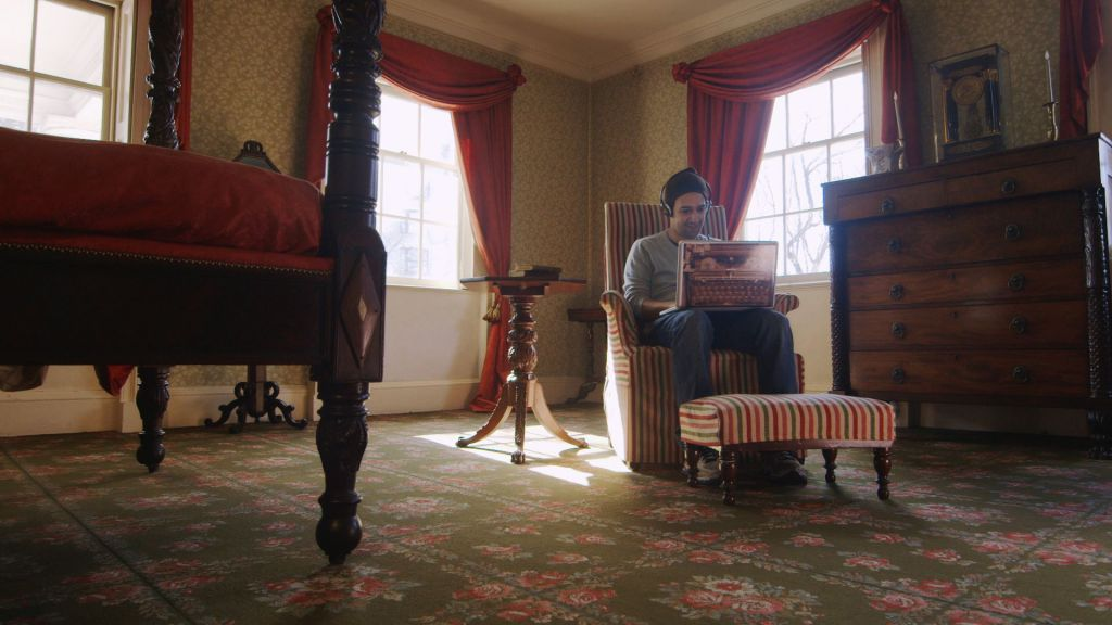 Lin-Manuel Miranda, writing in Aaron Burr's bedroom at The Morris-Jumel Mansion
