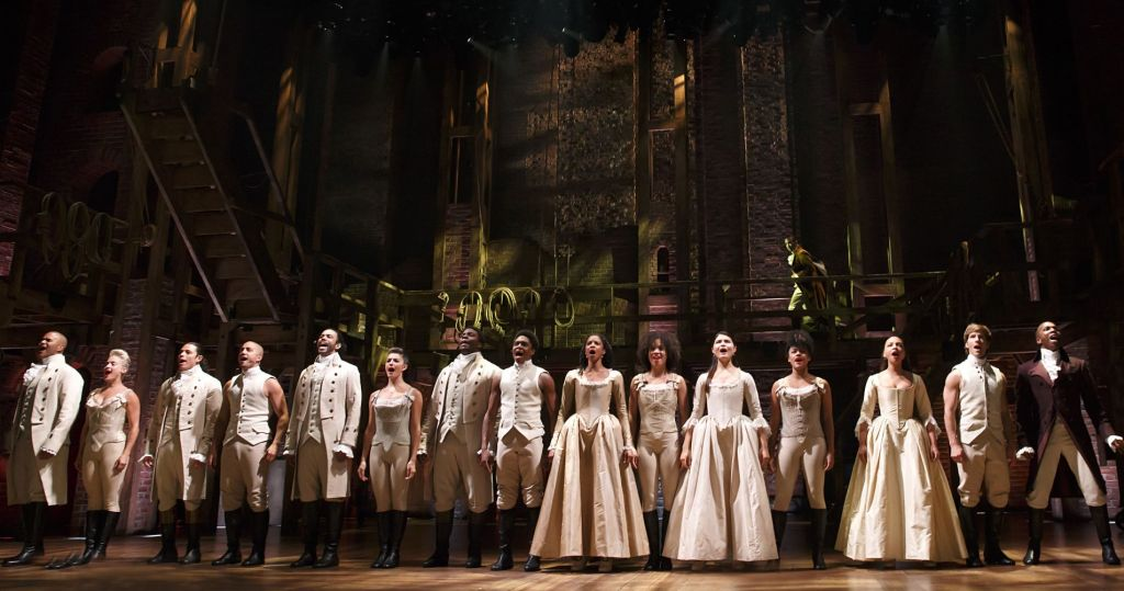 "The cast of ""Hamilton"" at the Richard Rodgers Theatre in New York City"