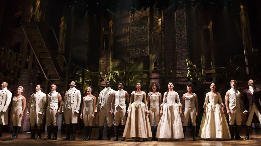 """The cast of """"Hamilton"""" at the Richard Rodgers Theatre in New York City"""