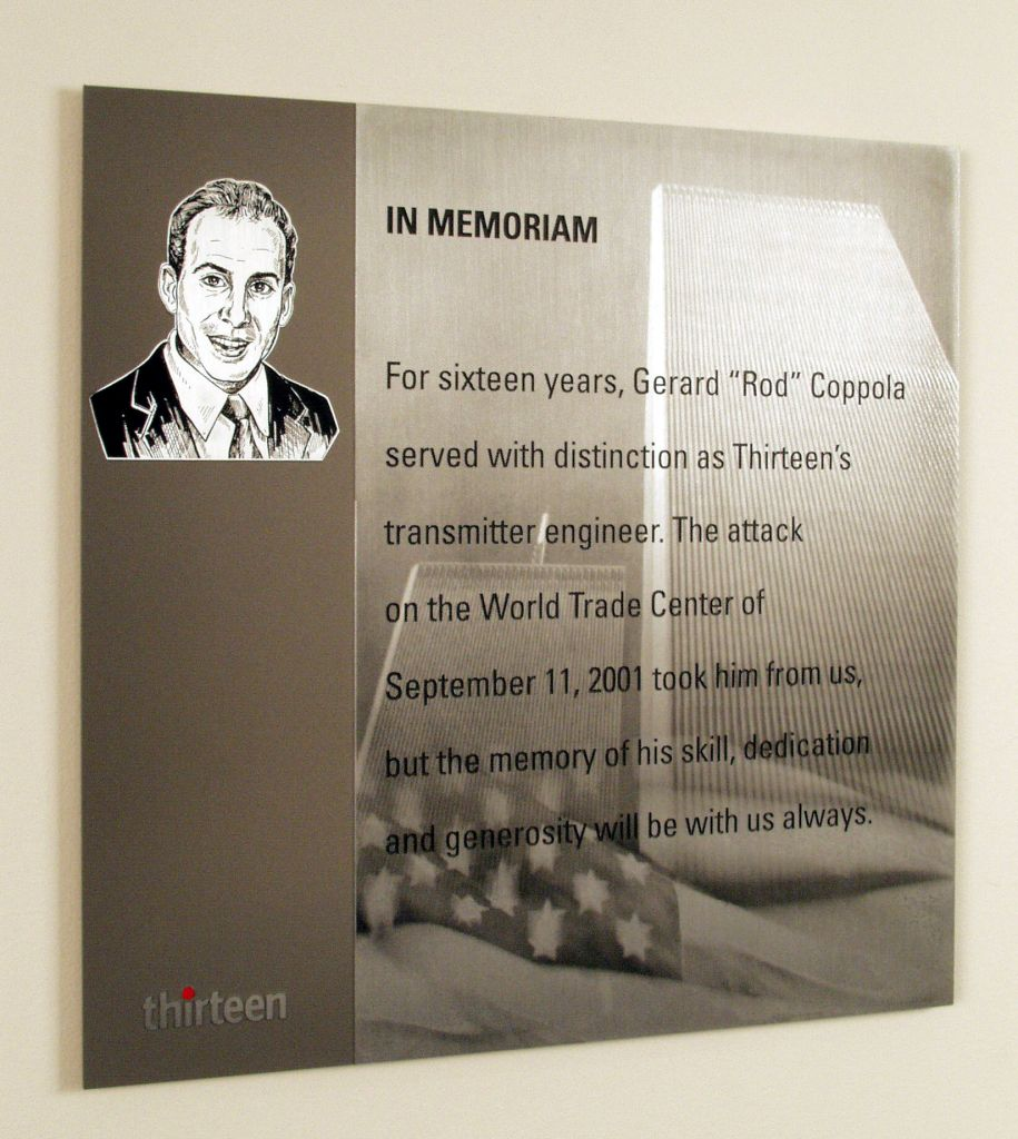 Tribute plaque to THIRTEEN engineer Rod Coppola, who was killed in the North Tower of the World Trade Center on September 11. Photo: WNET/Thirteen