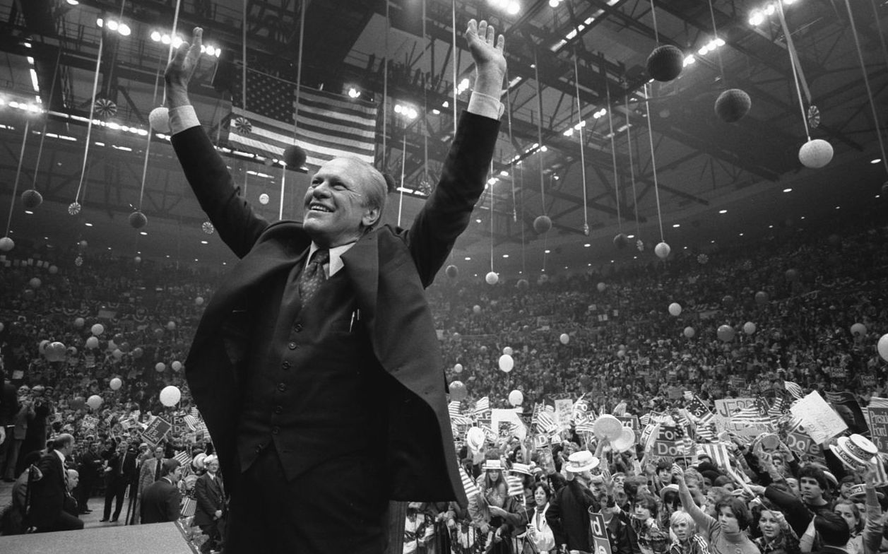 Gerald Ford campaigns at the Nassau County Veterans Coliseum