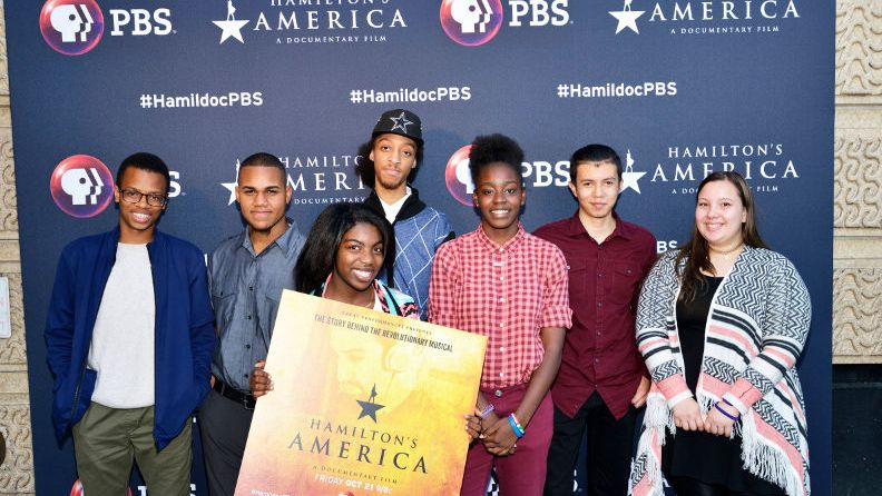 """Happy fans of Hamilton the Musical and Great Performances: """"Hamilton's America"""" at the PBS premiere event on October 17, 2016 at the United Palace theater in Washington Heights, NYC. Photo: WNET"""