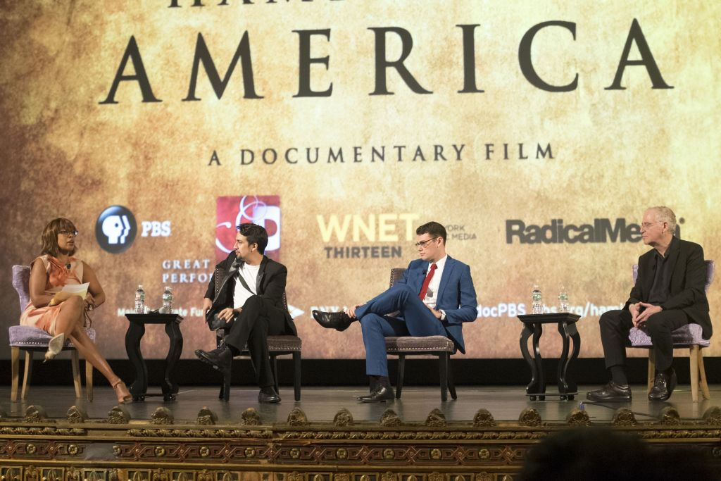 """(l to r) Gayle King, Lin-Manuel Miranda, Alex Horwitz, Ron Chernow in discussion after screening of Great Performances: """"Hamilton's America: A Documentary Film"""" on October 17 at the United Palace Theater"""