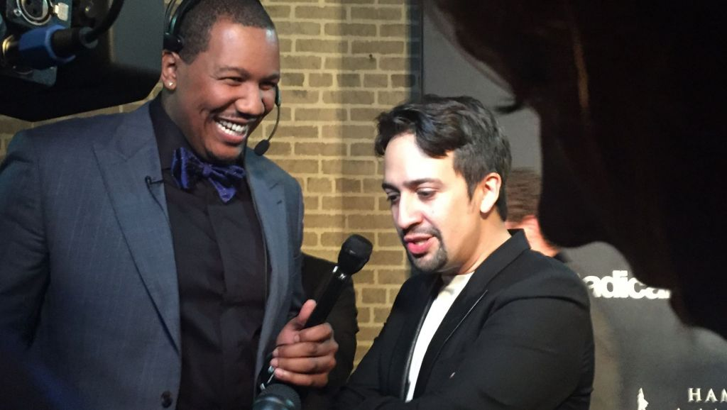 Travon Free and Lin-Manuel Miranda on the red carpet of the PBS and Great Performances premiere of Hamilton's America. Photo: Christina Knight/WNET