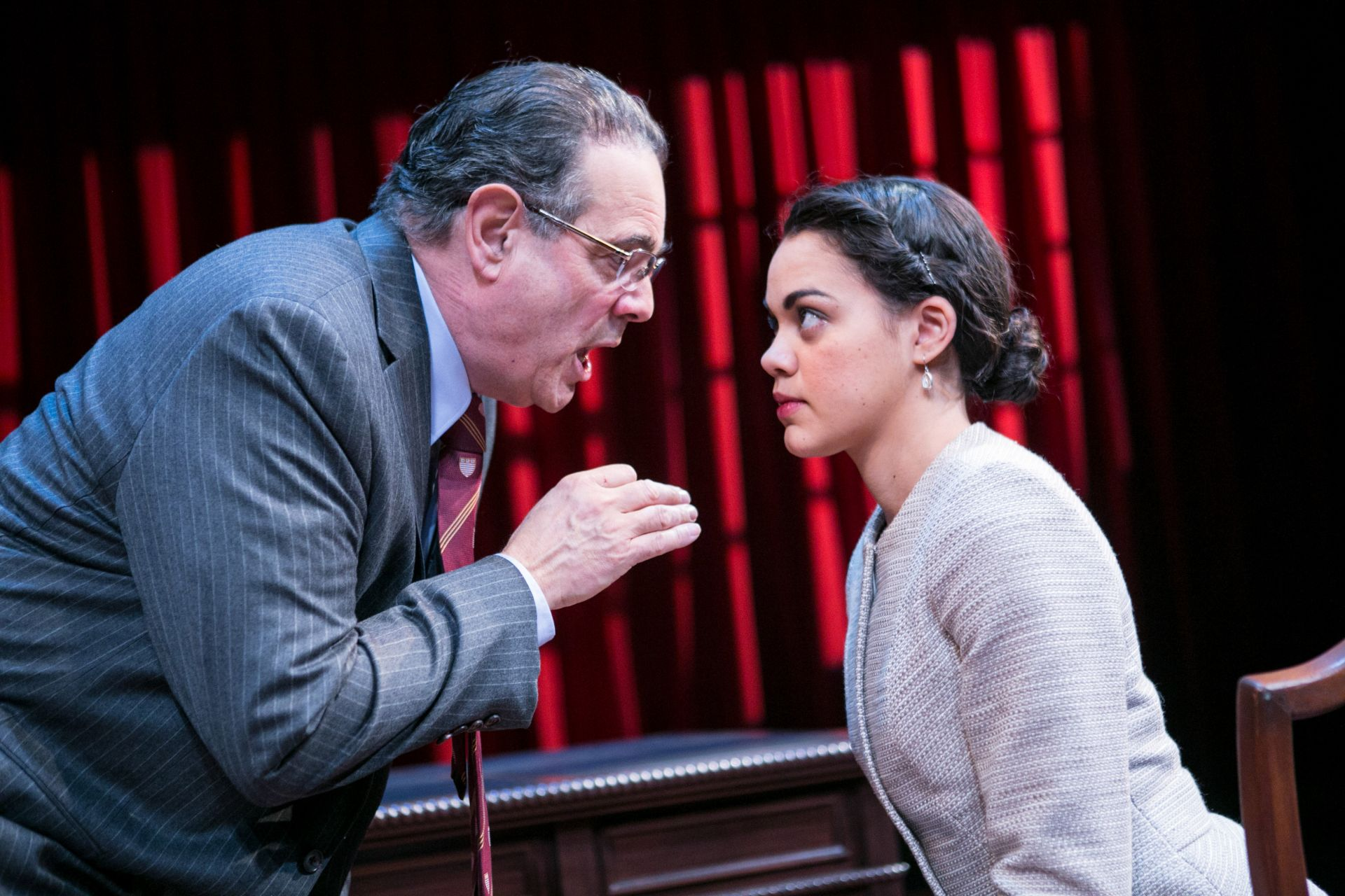 (L to R) Edward Gero as Supreme Court Justice Antonin Scalia and Kerry Warren as Cat in The Originalist at Arena Stage at the Mead Center for American Theater March 6-April 26, 2015. Photo by C. Stanley Photography.