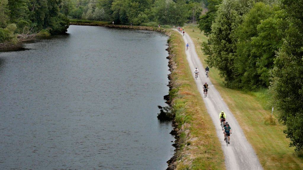 Bicyclists along the Erie Canalway Trail.