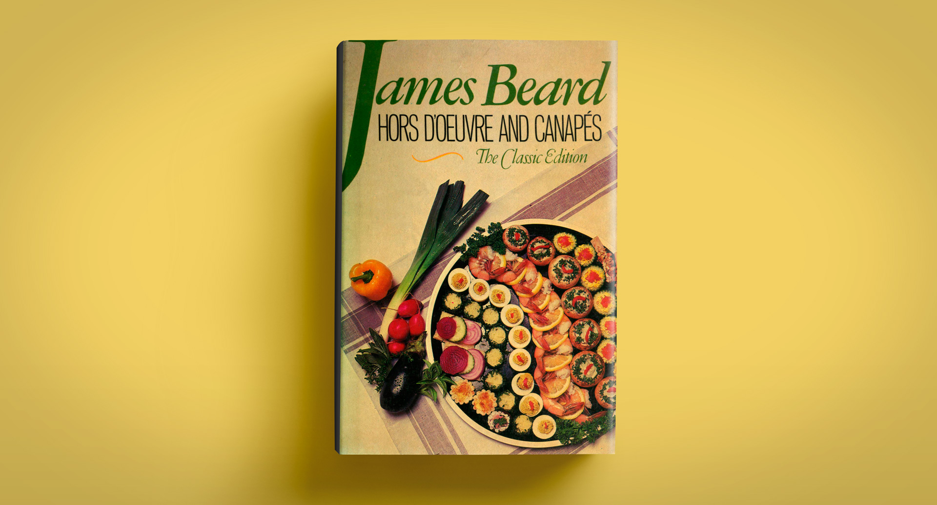 WELCOME TO THE 40s: The original cover of Hors d'Oeuvre & Canapés, Beard's 1940 book on cocktail food.