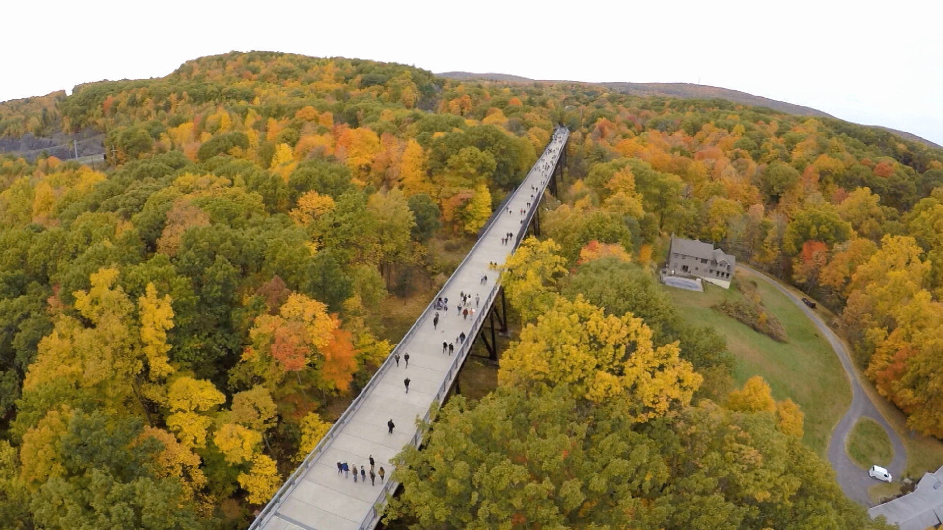 Aerial of Walkway Over the Hudson.