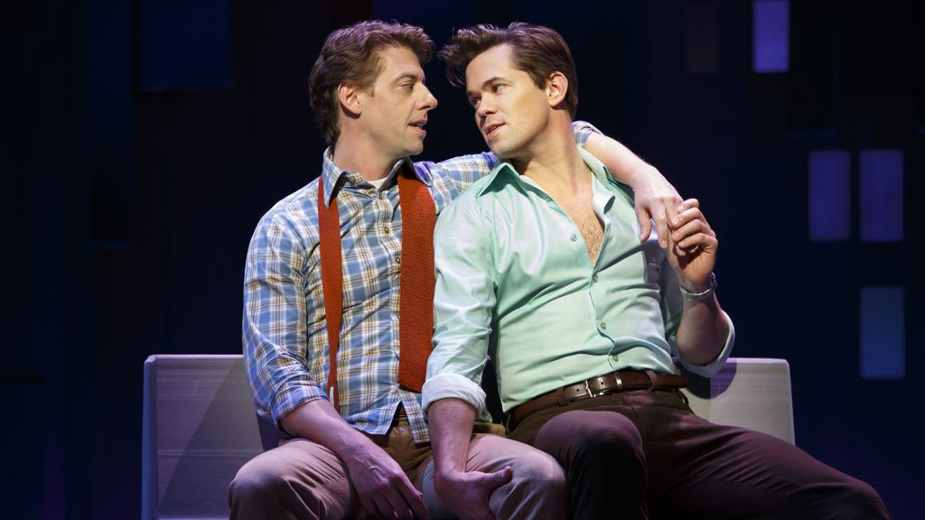Christian Borle and Andrew Rannells in the 2016 revival of Falsettos