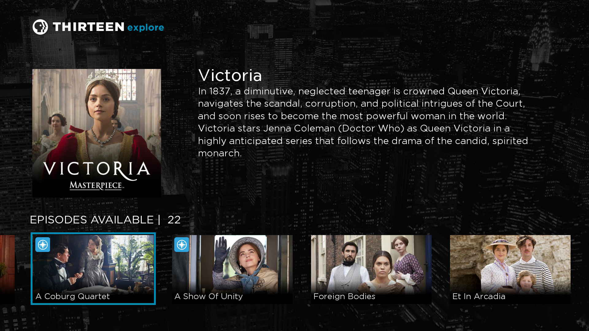 Roku app screen showing the Victoria show with Passport episodes