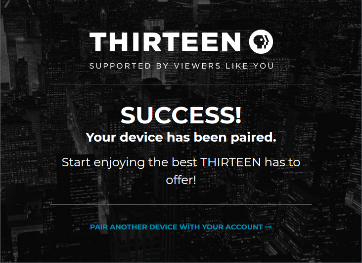 Screen showing success message