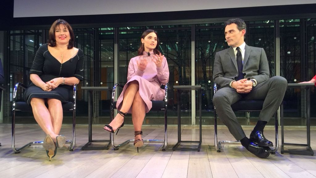 Writer Daisy Goodwin, Jenna Coleman (Victoria) and Rufus Sewell (Lord Melbourne) at the Victoria Season 2 premiere screening event in New York City.