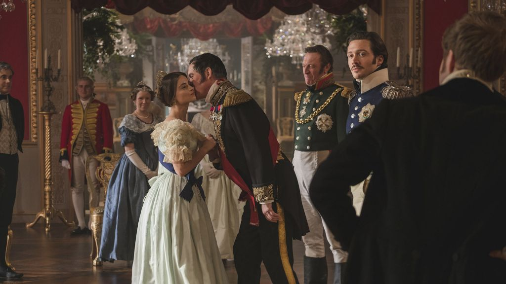"Season 2 opens with a double episode - ""A Soldier's Daughter"" & ""The Green-Eyed Monster"", Sunday, January 14, 2018 at 9pm. Left to right: Jenna Coleman as Victoria, Alex Jennings as Leopold, Andrew Bicknell as the Duke of Coburg, and David Oakes as Ernest."