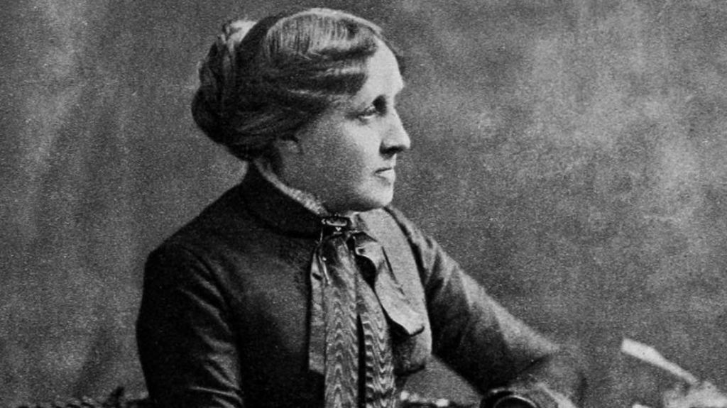 Author Louisa May Alcott (1832 - 1888).