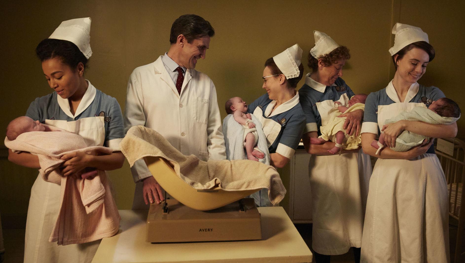 Call the Midwife Season 7 finale. R to L: Nurse Valerie Dyer (JENNIFER KIRBY), Nurse Phyllis Crane (LINDA BASSETT), Shelagh Turner (LAURA MAIN), Dr Turner (STEPHEN McGANN), Nurse Lucille Anderson (LEONIE ELLIOTT)