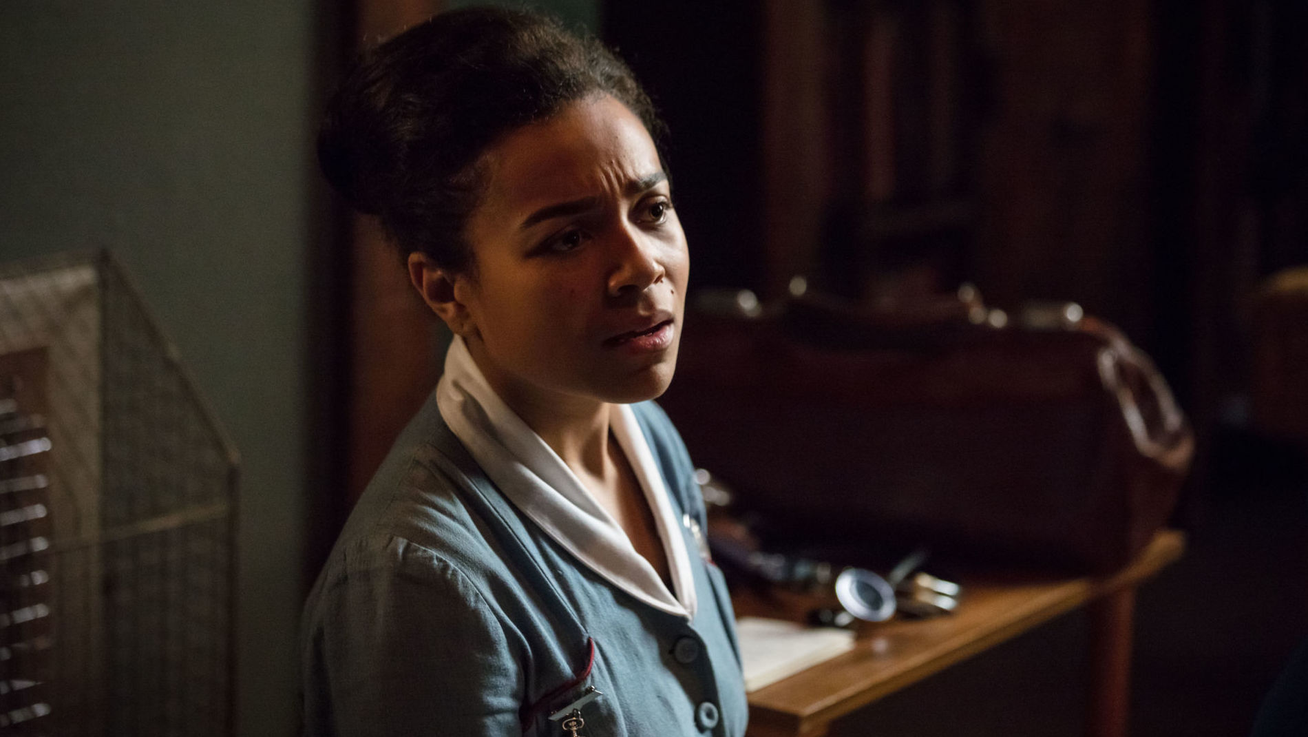 Nurse Lucille Anderson  (LEONIE ELLIOTT) on Call the Midwife Season 7, Episode 8 finale