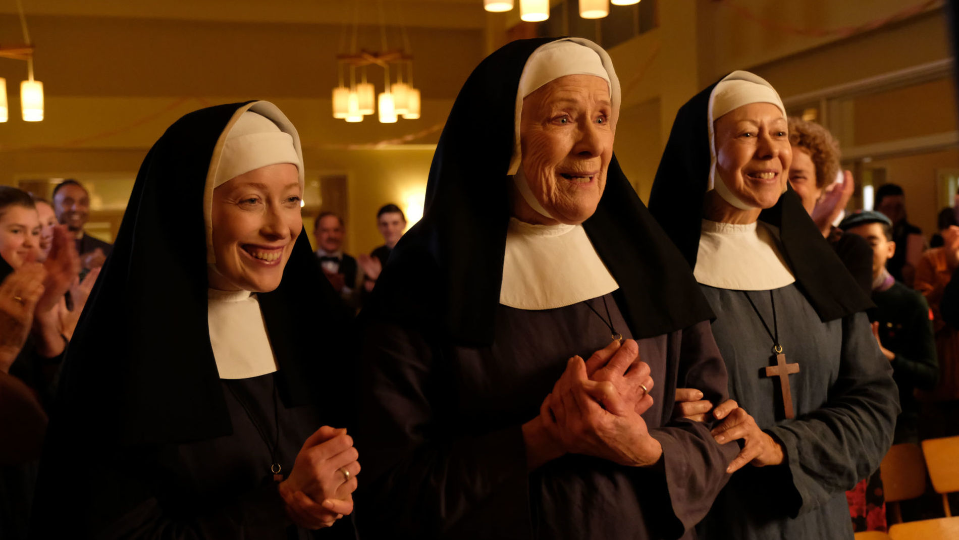Call the Midwife Season 7 Episode 8 finale, R to L: Sister Monica Joan (JUDY PARFITT), Sister Julienne (JENNY AGUTTER), Sister Winifred (Victoria Yeates).
