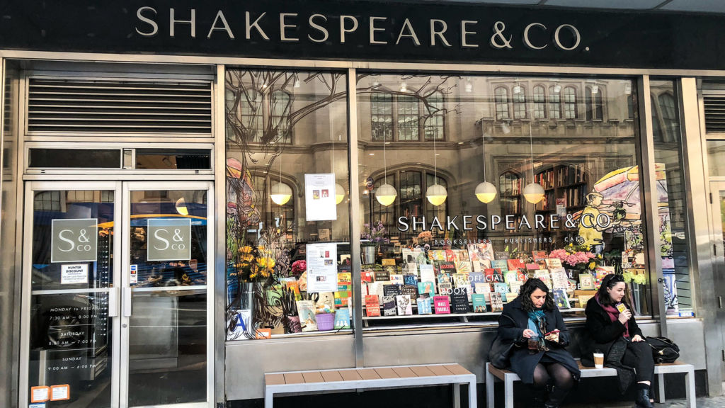The sidewalk view of Shakespeare and Co. on the Upper West Side of New York City.