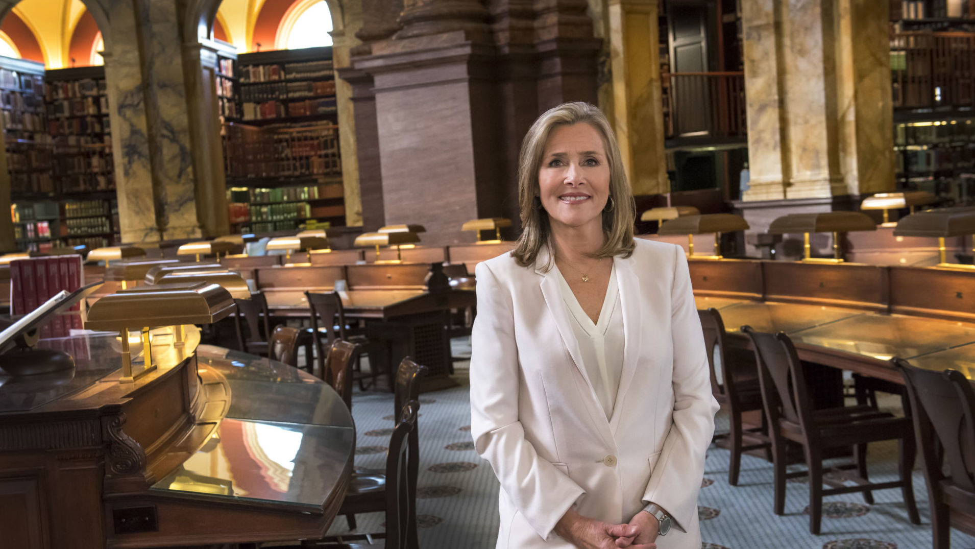 Meredith Vieira, at the Library of Congress Jefferson Reading Room. She is host for the PBS show, The Great American Read.