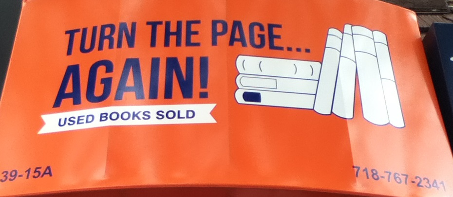 Turn the Page...Again! awning in Bayside, Queens.