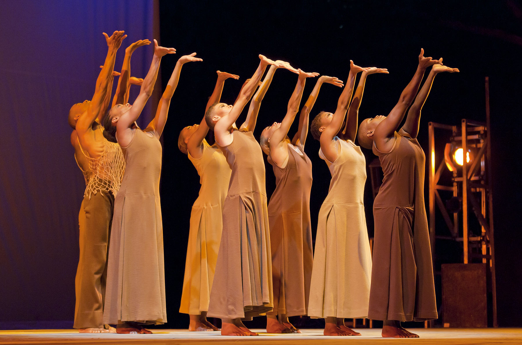 "Members of the ALVIN AILEY AMERICAN DANCE THEATER performing Ailey's 1960 masterpiece ""Revelations"" at Central Park SummerStage in 2010."