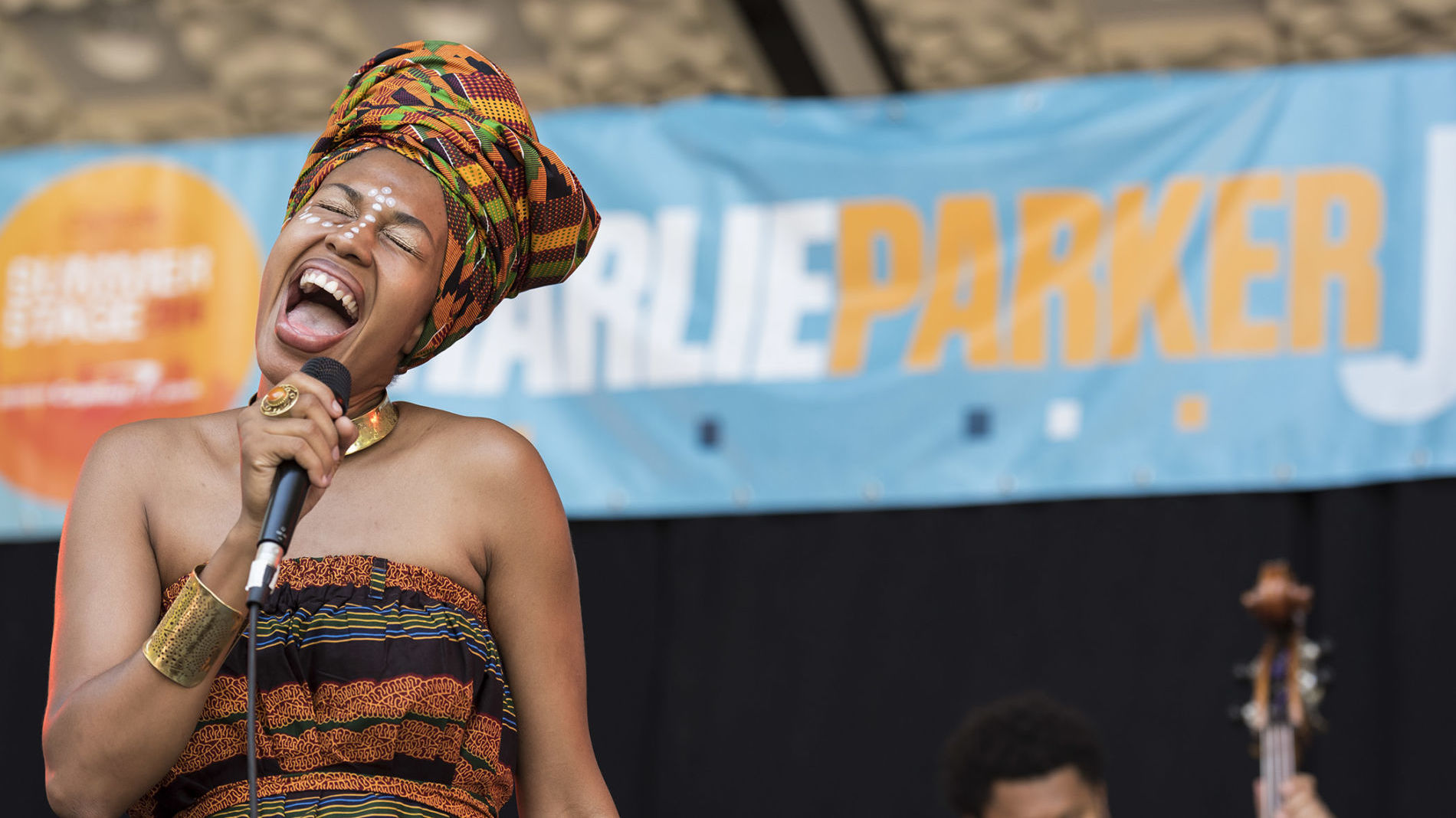 Jazzmeia Horn performs at the 24th Annual Charlie Parker Jazz Festival in Marcus Garvey Park in 2016.