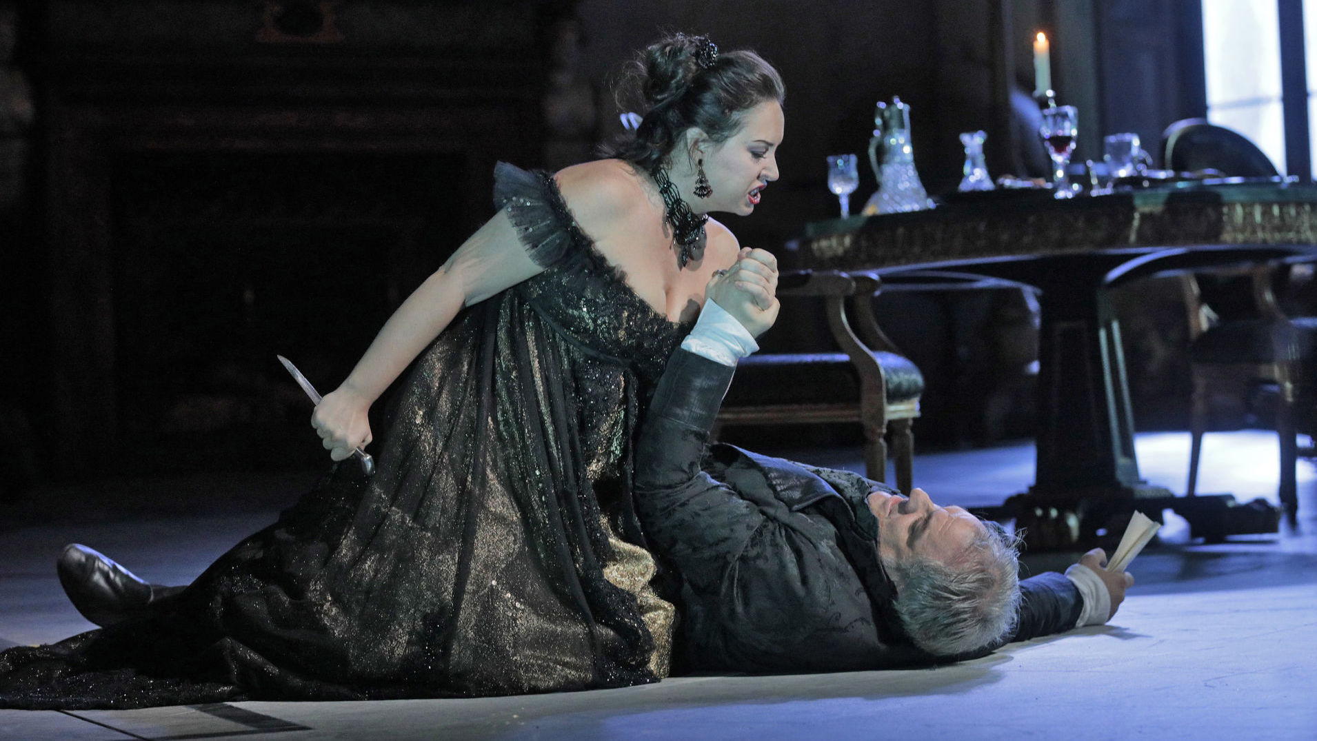 Sonya Yoncheva as Tosca and Željko Lučić as Scarpia in rehearsal for the new production of Tosca.
