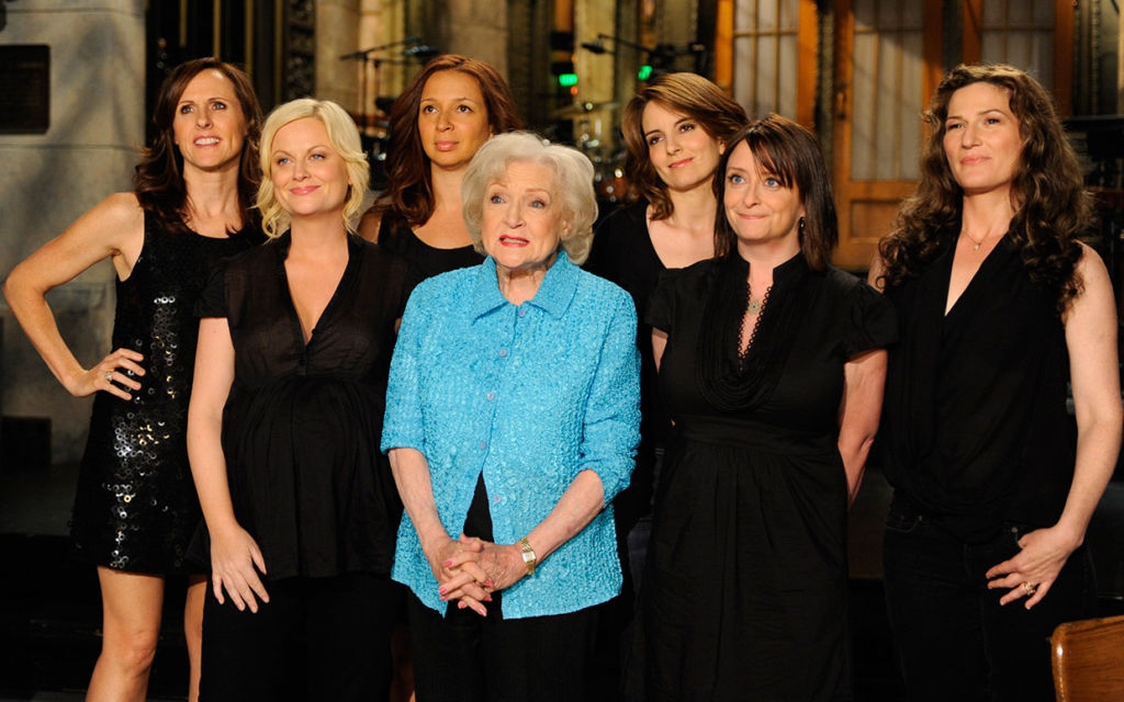 """Betty White on """"Saturday Night Live"""" with co-stars."""