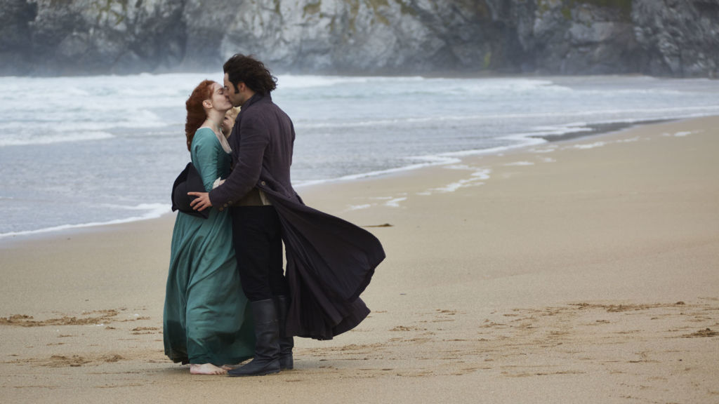 Eleanor Tomlinson as Demelza and Aidan Turner as Ross Poldark on Poldark - Masterpiece.