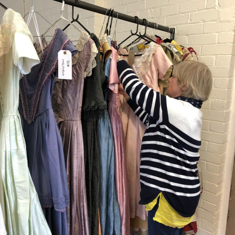 Costume designer Rosalind Ebbutt with some dresses for Victoria Season 3.