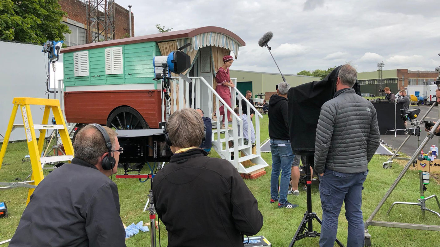 Shooting close ups of actress Jenna Coleman for a scene that takes place on the seaside.