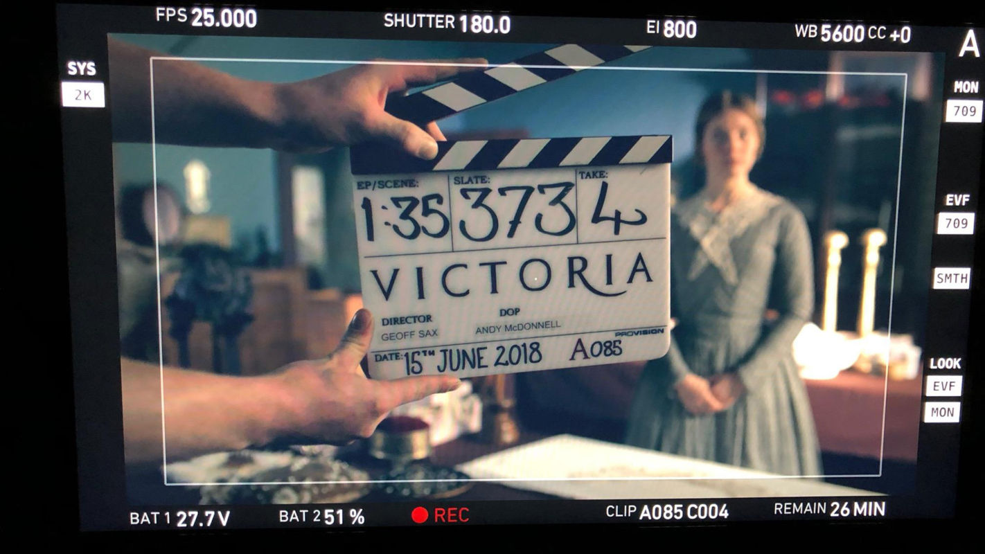 A slate on the set of Victoria Season 3.