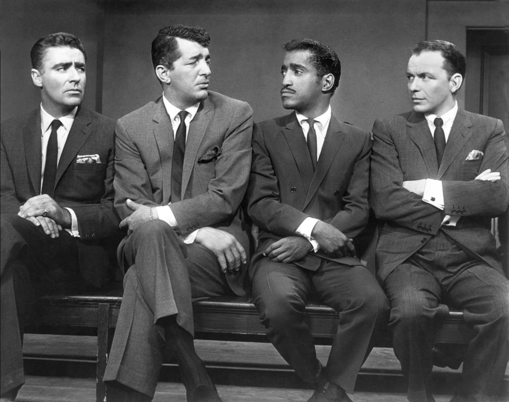 The stars of the film, Ocean's Eleven. L-R Peter Lawford, Dean Martin, Sammy Davis, Frank Sinatra, 1960.