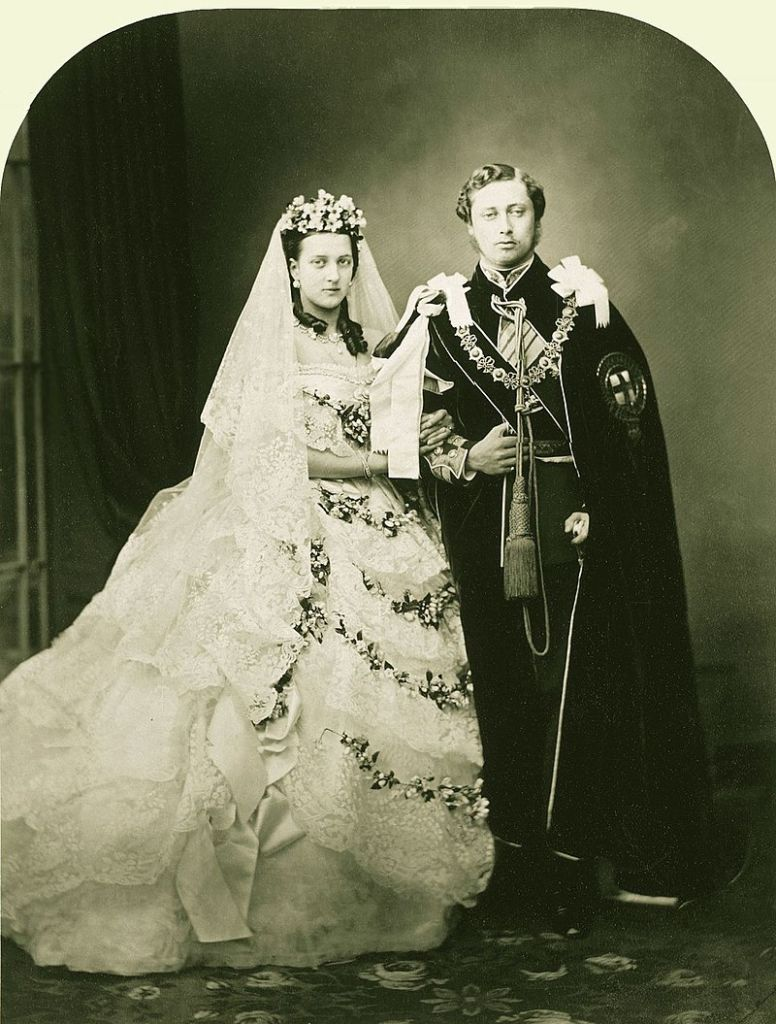 Wedding portrait of Alexandra of Denmark and the Prince of Wales (later King Edward VII), London, 1863.