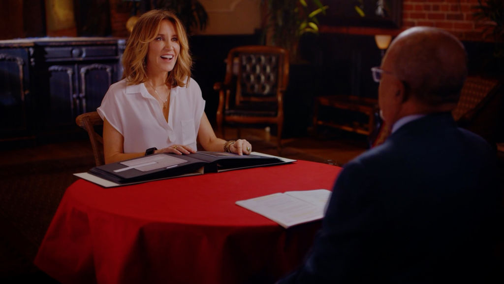 Host Henry Louis Gates, Jr. with actor Felicity Huffman on the set of Finding Your Roots.