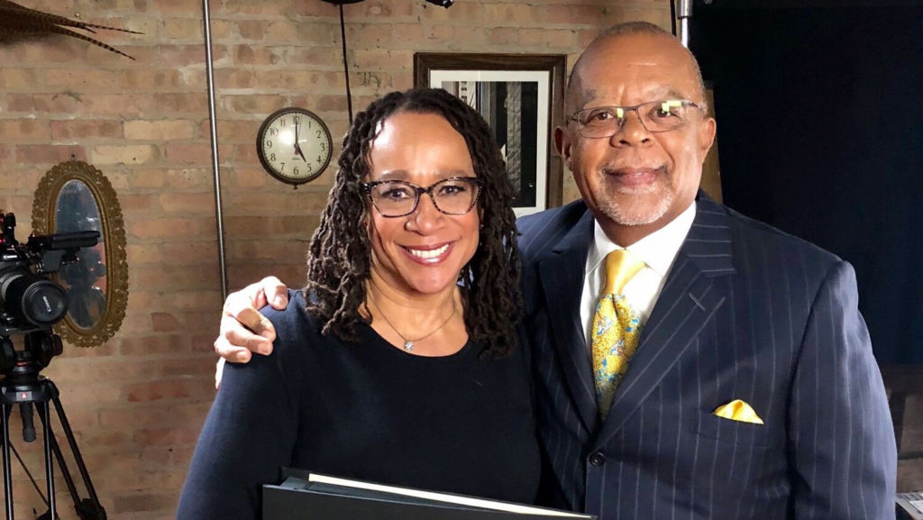 Host Henry Louis Gates, Jr. with actor S. Epatha Merkerson while taping Finding Your Roots.